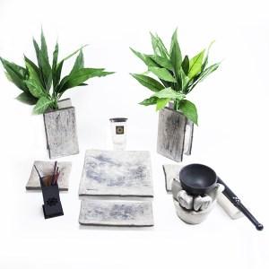 Altar budista marmolado negro+gong chico completo