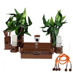 Altar budista Soka marrón y juzu madera grande