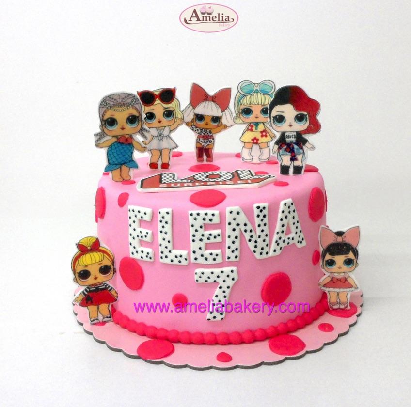 Tarta-muñecas-lol-en-oblea-3d-rosa