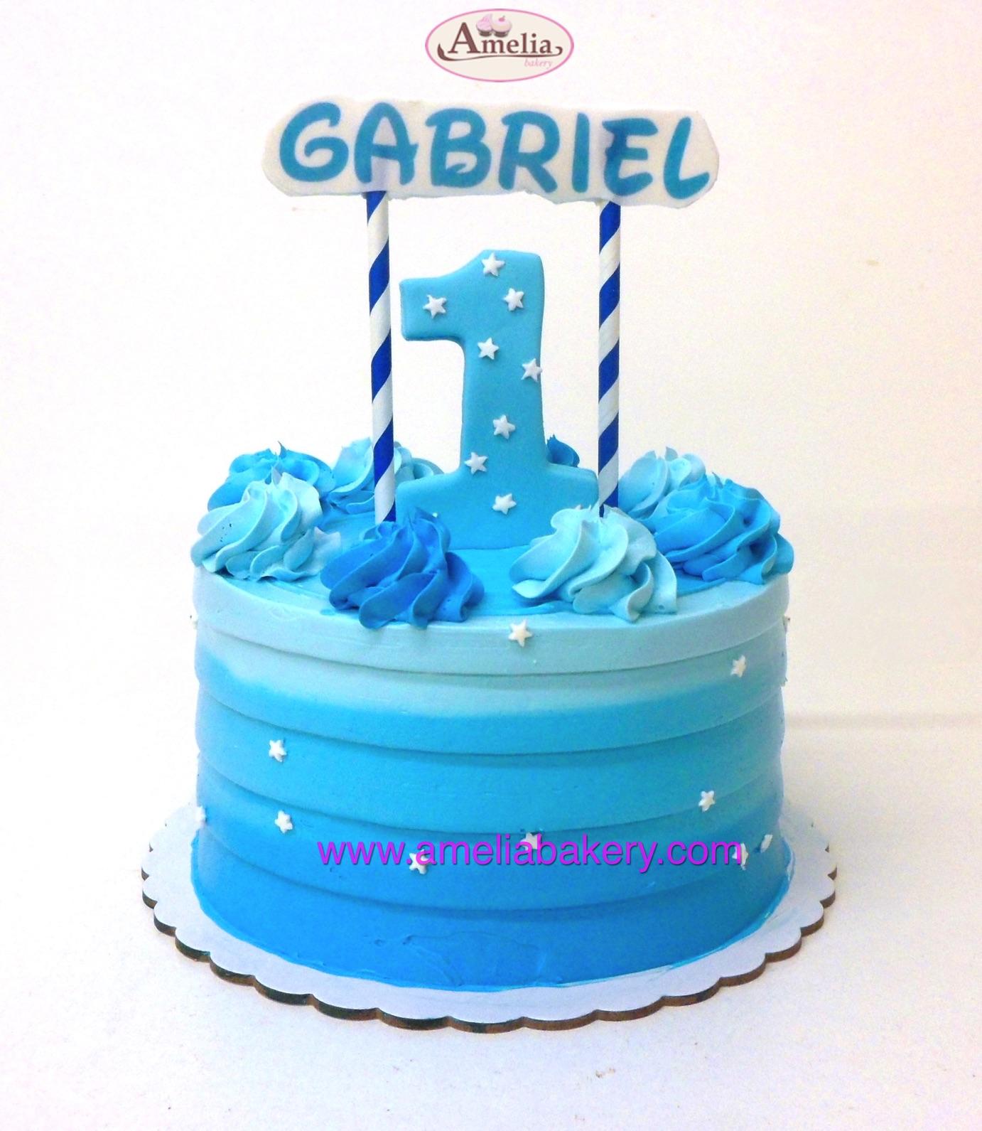 Pastel de Cumpleaños con banderín (con buttercream / sin fondant)