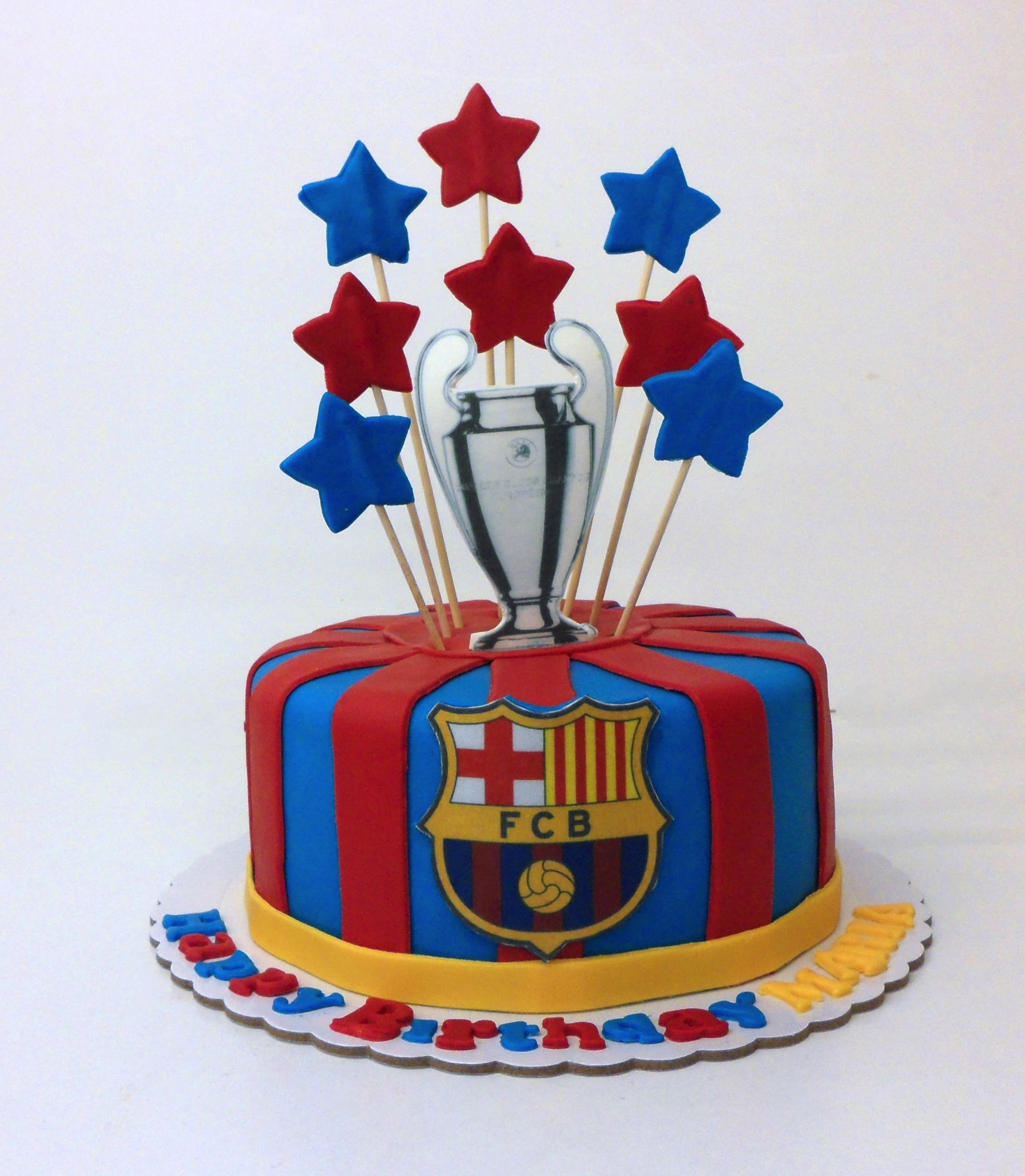 Tarta Fondant Escudo, Copa Champions y Estrellas F.C Barcelona Barça