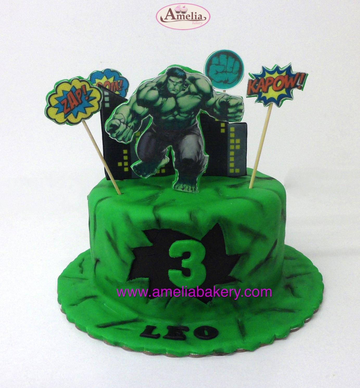 Tarta Fondant Hulk oblea 3D