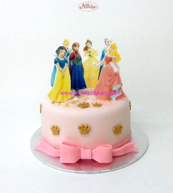 Tarta Princesas Disney oblea 3d con lazo