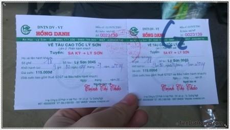 Tấm vé ra đảo Lý Sơn.