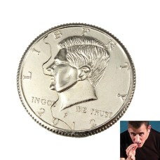 moneda mordida y recompuesta medio dolar