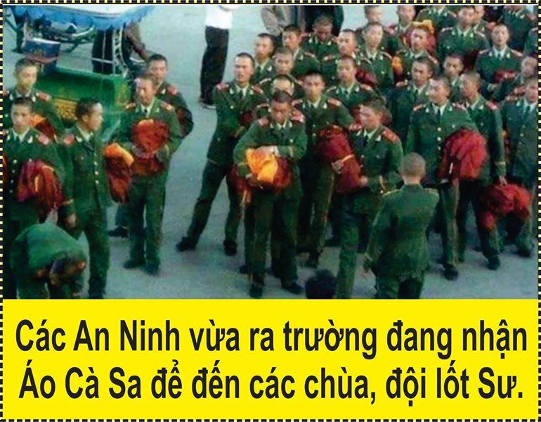 Công an CSVN ra trường nhận Y Áo nhà Phật thực hiện chính sách Tôn Giáo Vận?