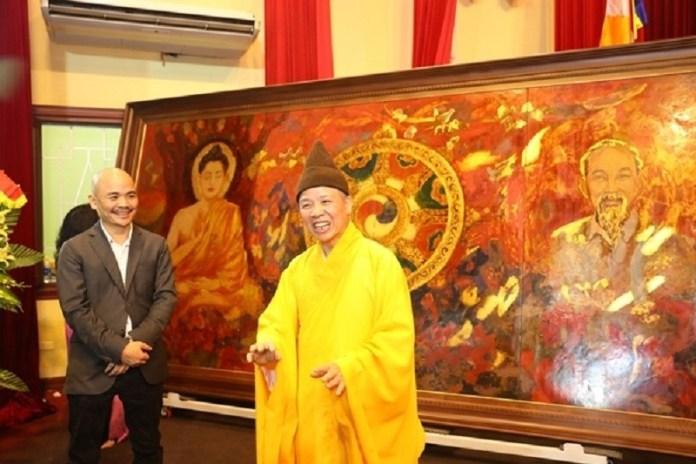 PHÁP NẠN! Tranh vẽ HCM ngồi ngang Phật Thích Ca - 'Phật giáo quốc doanh thời mạt pháp'