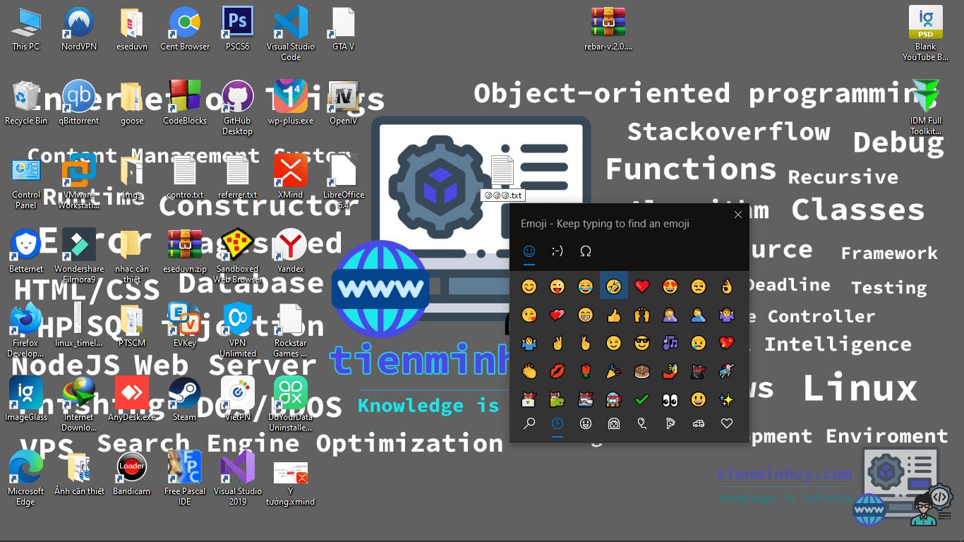 Sử dụng Emoji cho tên tệp trên win 10