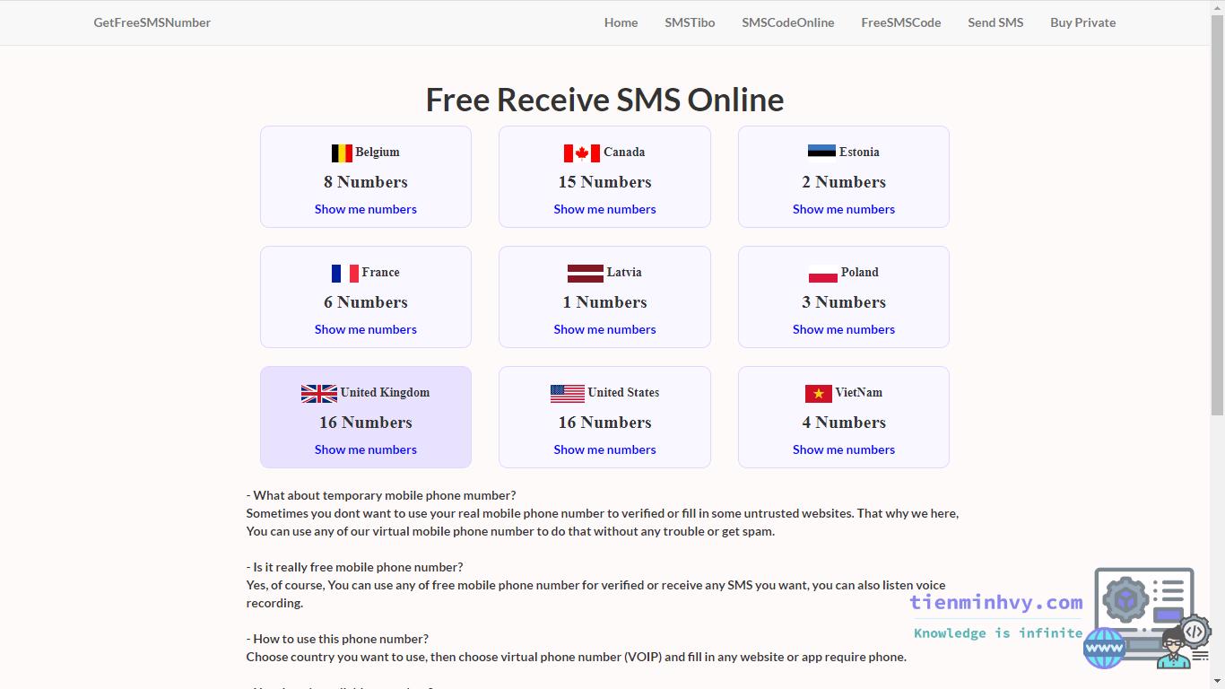 Một số trang nhận SMS online miễn phí