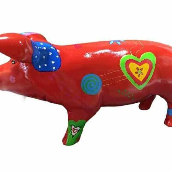 Deko Kunst Ferkel mit Herz in rot