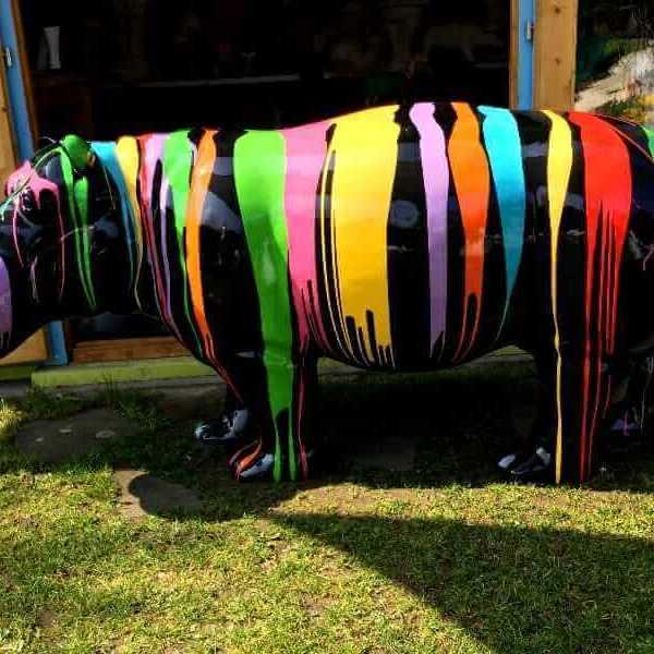 Deko Nilpferd kreativ schwarz Grundfarbe