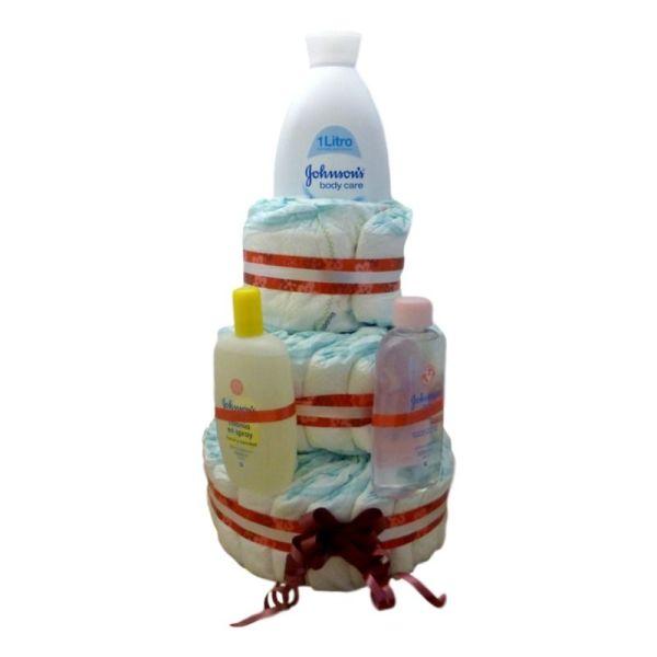 tarta de pañales 3 pisos bicolor