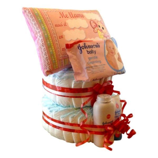 tarta de pañales rubí niña
