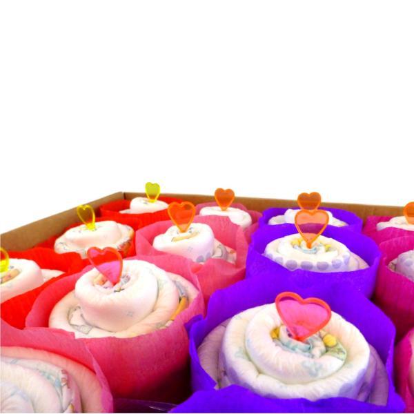 Tarta de pañales Cupcake para niña
