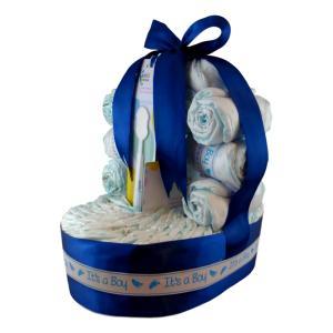 tarta de pañales con forma de cesta
