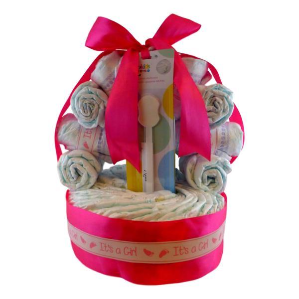 tarta de pañales cesta niña