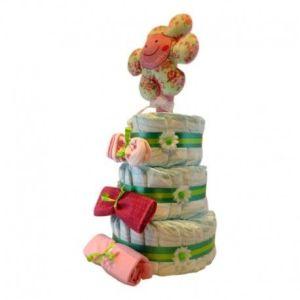 tarta de pañales niña coqueta