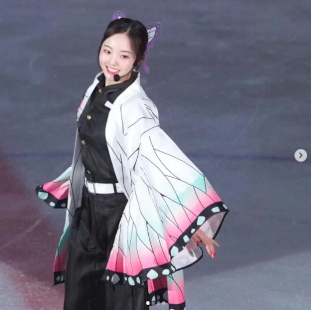 Japanese figure skater cosplay as Shinobu Kocho from Kimetsu no Yaiba