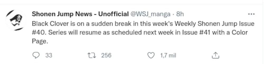 Black Clover manga will go on hiatus