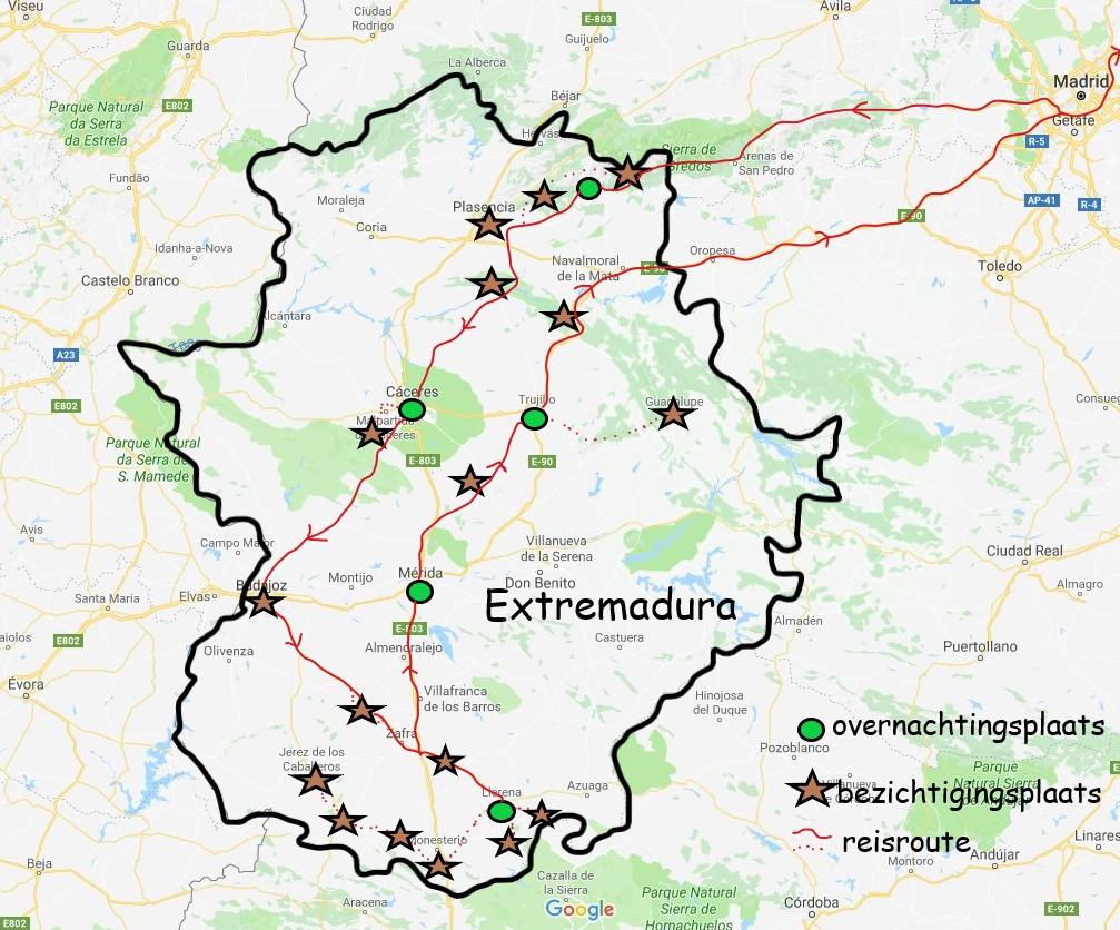 Bezienswaardigheden en overnachtingsplaatsen tijdens autorondreis in Extremadura