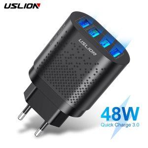 CARREGADOR USB 3.0 4 PORTAS USLION PARA iPHONE, SANSUMG, XIAOMI, HAUWEI