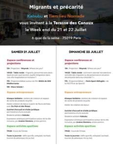 Migrants & précarités : Un week-end aux Canaux les 21&22 juillet