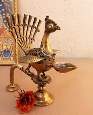 brass arti peacock
