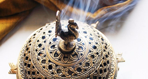 brass round incense burner