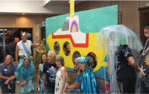 Yellow Submarine backdrop, part of the party decorations for Texas Camp 2017