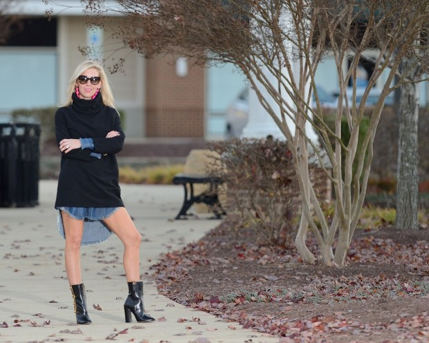 Chambray plus Turtleneck Dress