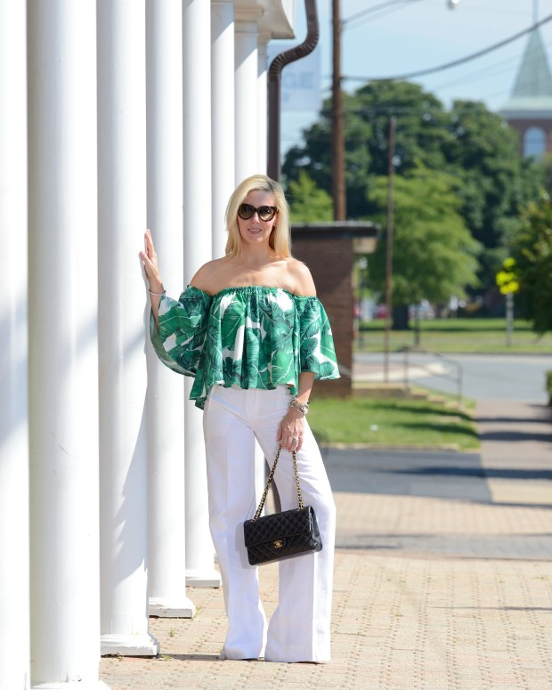 Romwe Palm Leaf Top and White Linen Pants