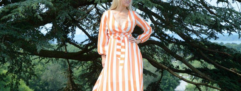 Romwe Orange Striped Dress