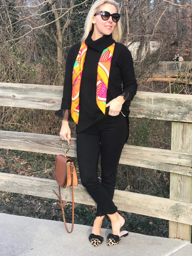 Today's look is an easy outfit for so many events - casual theatre, running errands, lunch with friends, casual dinner out and even church. All black with the addition of a scarf and leopard shoes is great!