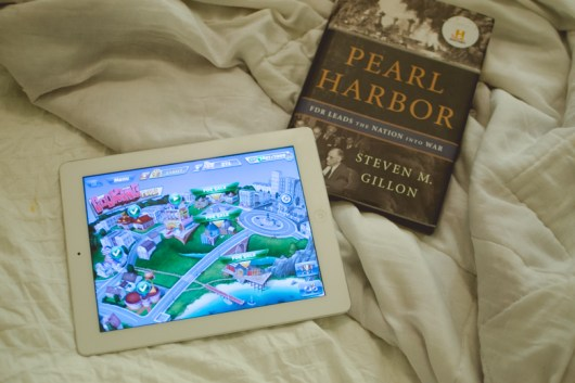 I do a bunch of random stuff in-between the time I got home & ate, but my before-bedtime-ritual is the same: a little iPad gaming & reading.