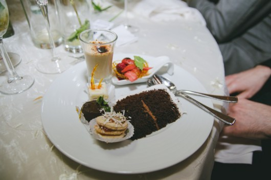 Andrea & Josh are geniuses. They had a dessert buffet table with many tiny different dessert options + an amazing chocolate cake. This wedding made my stomach so happy, you guys.