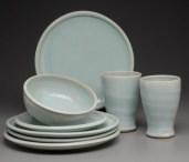 Pale blue dinnerware