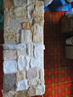 Fabric samples before dyeing