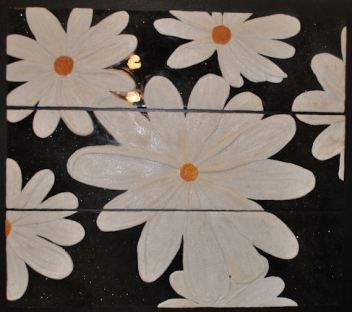 "Summer Daisies-12""x42""/panel (set of 3 panels) WORK IN PROGRESS"
