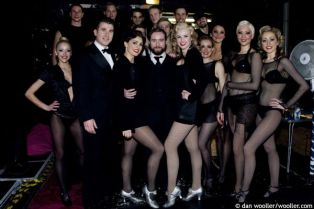 Aoife Mulholland (Roxie Hart), Justin Lee Collins (Amos Hart), Tiffany Graves (Velma Kelly) and the cast backstage after the curtain call for 11th anniversary gala performance of Chicago at the Cambridge Theatre, London, England on 4th December 2008. (Credit should read: Dan Wooller/wooller.com). Paid use only. No Syndication