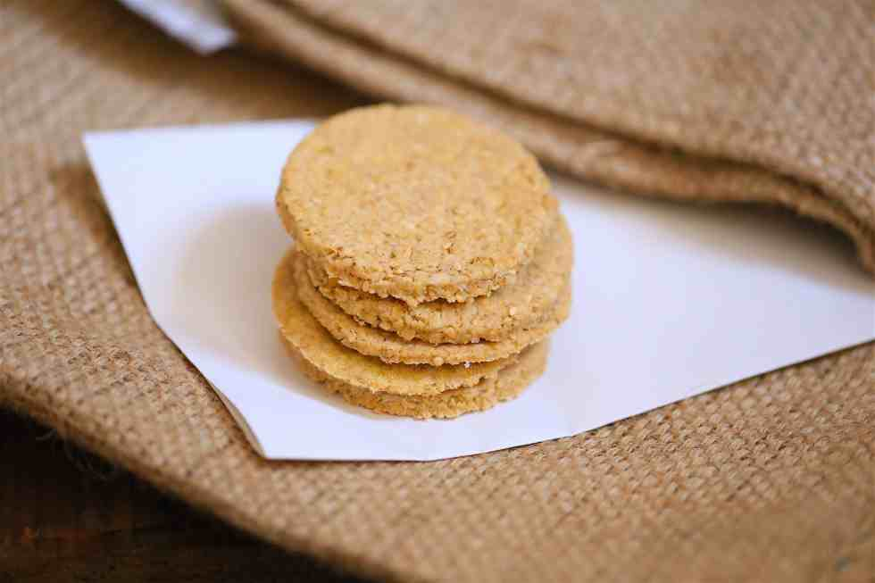 Oat biscuits on a brown sack