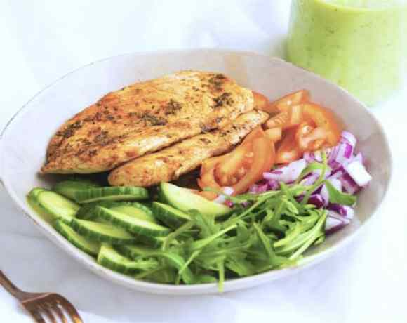 Simple Chicken Salad with Avocado Dressing
