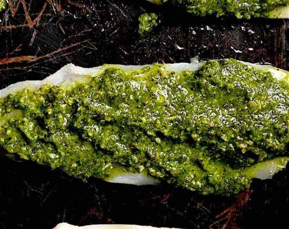 Mint and Coriander marinade on three pieces of Fish