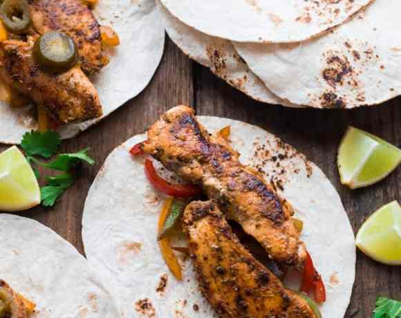 3 Blackened Chicken Fajitas, with peppers and jalapeno