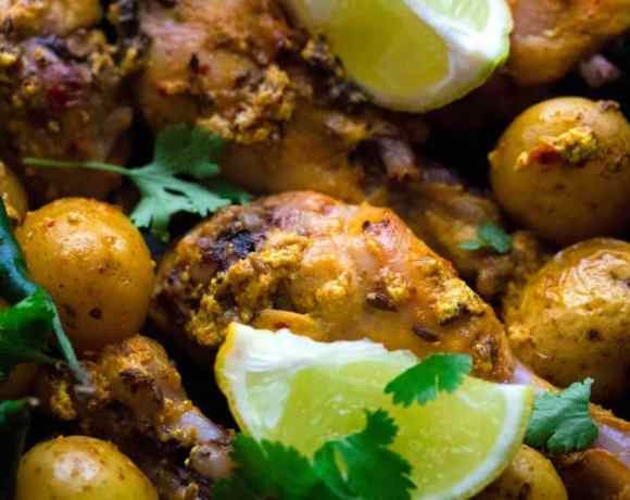 Indian Roasted Chicken Legs with Baby Potatoes