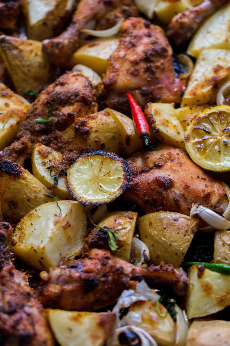 One tray Herb and Citrus Chicken with Potatoes on tray