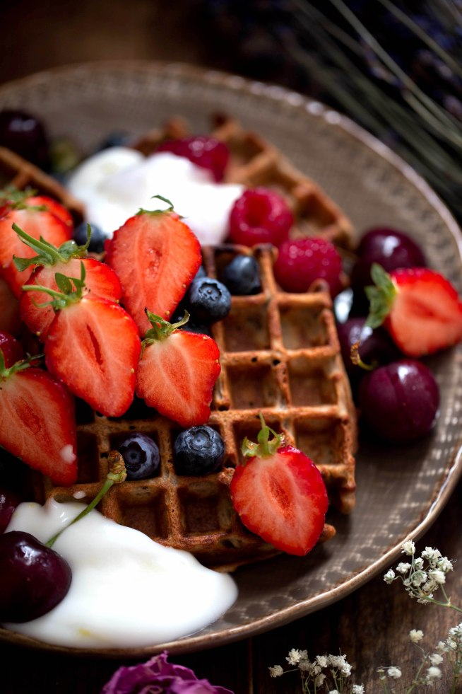 gluten free pumpkin spice waffles with ginger and honey yoghurt