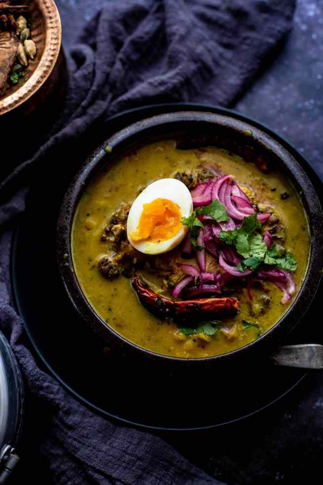 Loaded Daal with Cauliflower Steak and Quick Pickled Onions