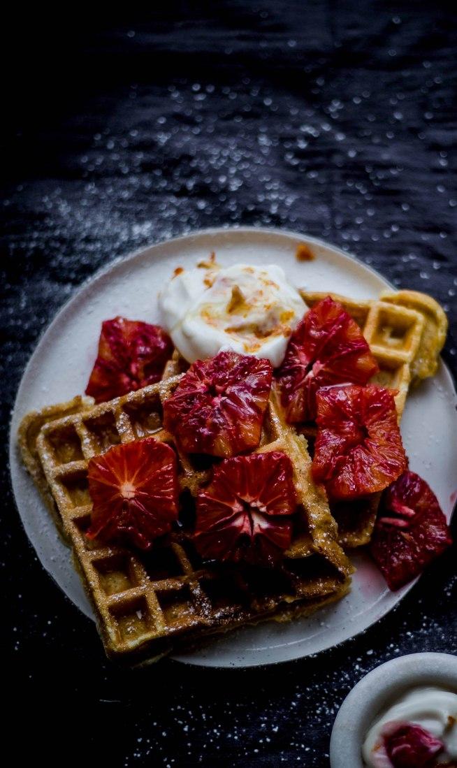 Cardamom and Cinnamon Waffles with Blood Orange Yoghurt