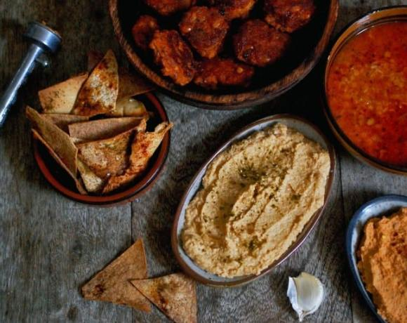 Red lentil and bulgar wheat soup with hummus and falafel