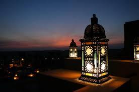 Lanterns on a platform in the night